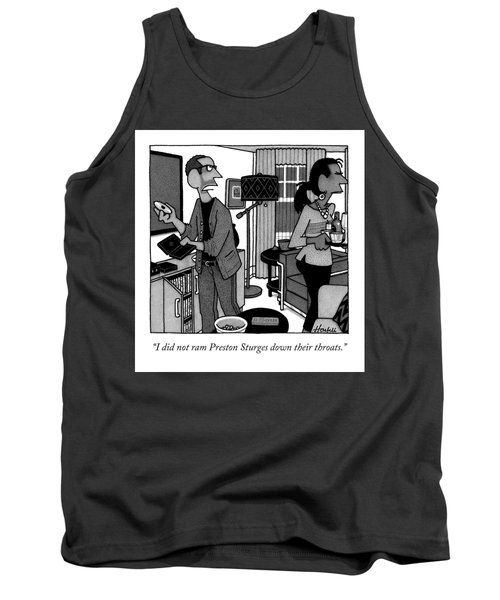 A Man Putting A Dvd In Its Cakse Speaks Tank Top