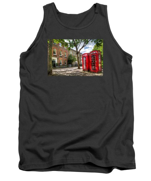 Tank Top featuring the photograph A Pair Of Red Phone Booths by Tim Stanley