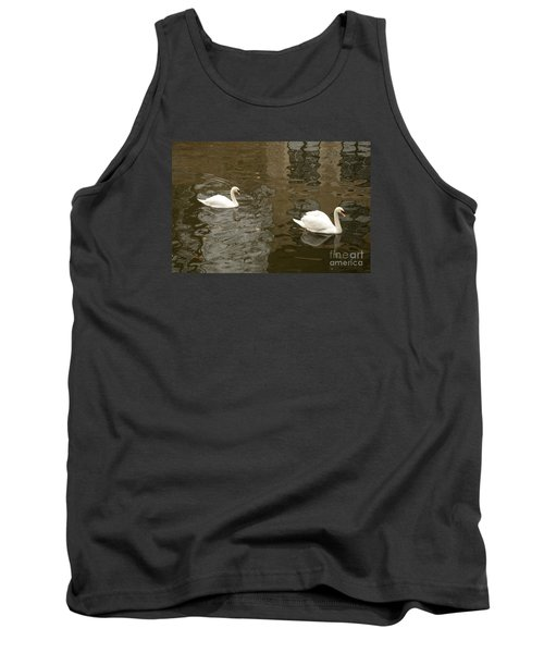 Tank Top featuring the photograph A Pair Of Swans Bruges Belgium by Imran Ahmed
