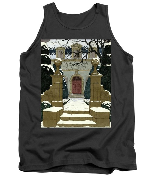 A Snow Covered Pathway Leading To A Mansion Tank Top