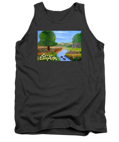 Tank Top featuring the painting A Spring Stream by Magdalena Frohnsdorff