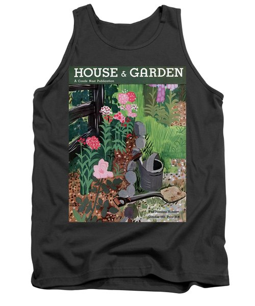 A Watering Can And A Shovel By A Flower Bed Tank Top