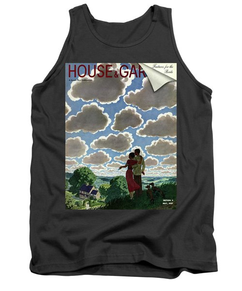A Young Couple And Their Dogs On A Hilltop Tank Top