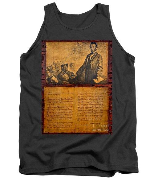 Abraham Lincoln The Gettysburg Address Tank Top by Saundra Myles