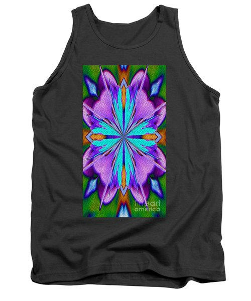 Abstract Purple Aqua And Green Tank Top