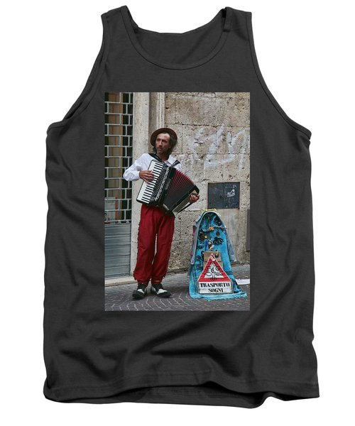 Accordian Player Tank Top by Hugh Smith