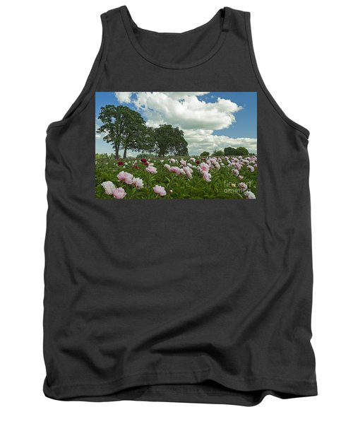 Tank Top featuring the photograph Adleman's Peony Fields by Nick  Boren