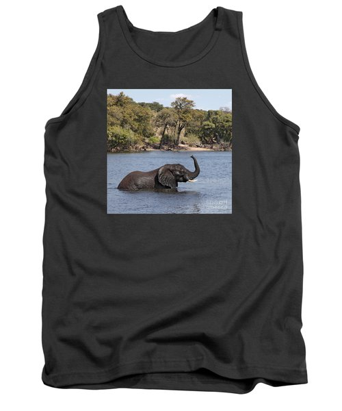 Tank Top featuring the photograph African Elephant In Chobe River  by Liz Leyden
