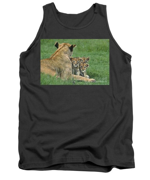 Tank Top featuring the photograph African Lion Cubs Study The Photographer Tanzania by Dave Welling