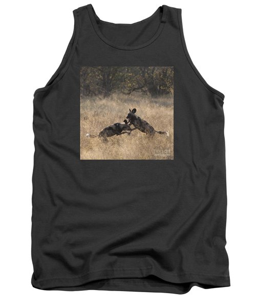 Tank Top featuring the photograph African Wild Dogs Play-fighting by Liz Leyden