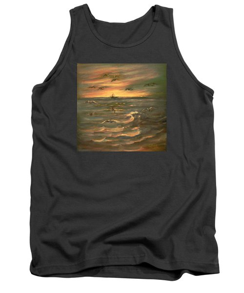 Tank Top featuring the painting After Sunset  by Laila Awad Jamaleldin