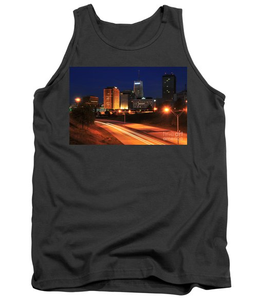 D1u-140 Akron Ohio Night Skyline Photo Tank Top