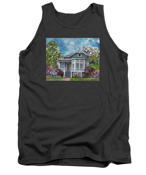 Tank Top featuring the painting Alameda 1884 - Eastlake Cottage by Linda Weinstock