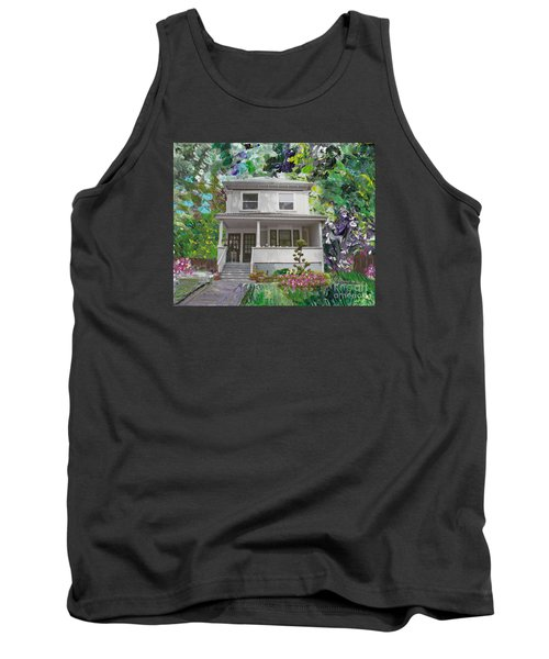 Tank Top featuring the painting Alameda 1933 Duplex - American Foursquare  by Linda Weinstock