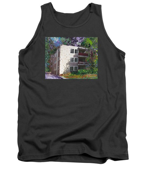 Tank Top featuring the painting Alameda 1964 Apartment Architecture   by Linda Weinstock