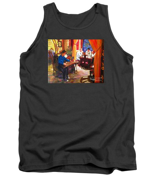 Tank Top featuring the painting Guzheng by Linda Weinstock