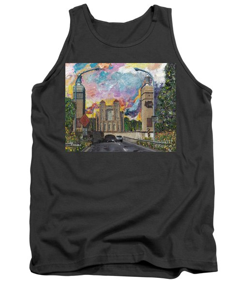 Tank Top featuring the painting Alameda Webster Posey Tube Portal 1928 by Linda Weinstock