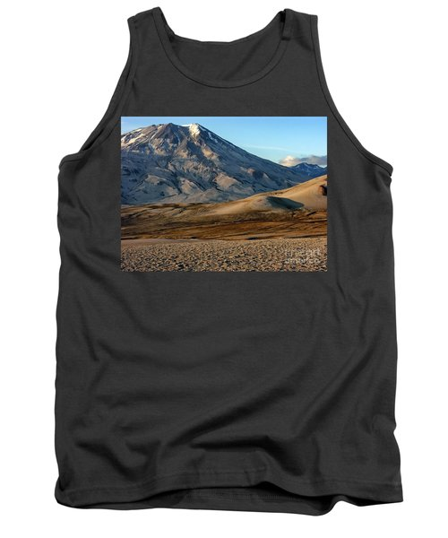 Tank Top featuring the photograph Alaska Landscape Scenic Mountains Snow Sky Clouds by Paul Fearn