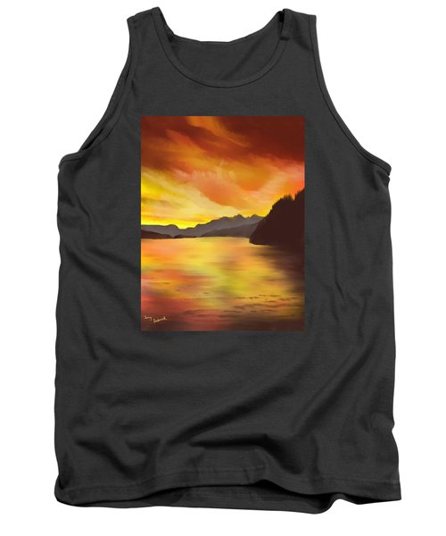 Tank Top featuring the painting Alaska Sunset by Terry Frederick