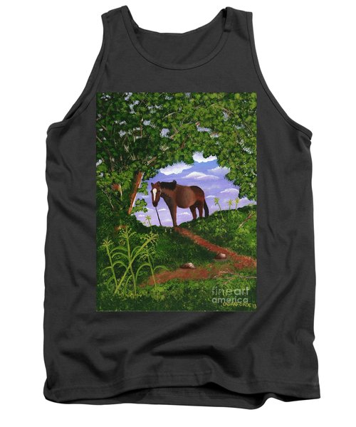 Tank Top featuring the painting All Alone by Laura Forde