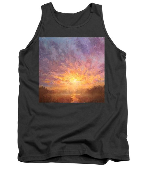 Impressionistic Sunrise Landscape Painting Tank Top by Karen Whitworth