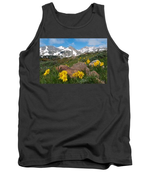 Alpine Sunflower Mountain Landscape Tank Top