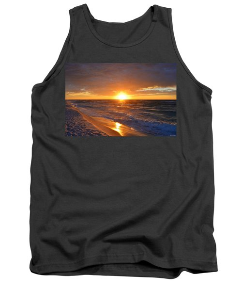 Tank Top featuring the photograph Amazing Sunrise Colors And Waves On Navarre Beach by Jeff at JSJ Photography