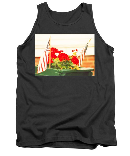 American Flags And Geraniums In A Wheelbarrow In Maine, One Tank Top