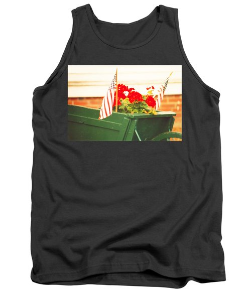 Tank Top featuring the photograph American Flags And Geraniums In A Wheelbarrow Two by Marian Cates