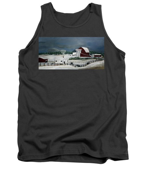 Tank Top featuring the painting Amish Farm - Winter - Michigan by Jan Dappen