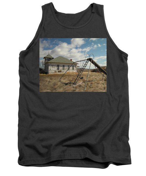 An Old School Near Miles City Montana Tank Top by Jeff Swan