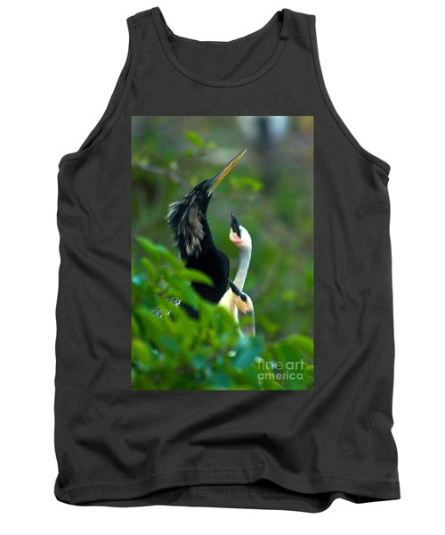 Anhinga Adult With Chicks Tank Top by Mark Newman