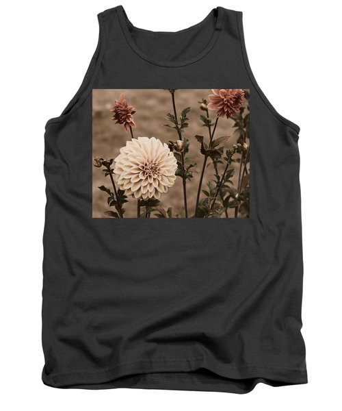 Antiqued Dahlias Tank Top by Jeanette C Landstrom