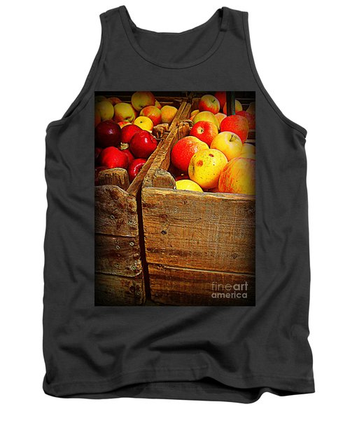 Tank Top featuring the photograph Apples In Old Bin by Miriam Danar