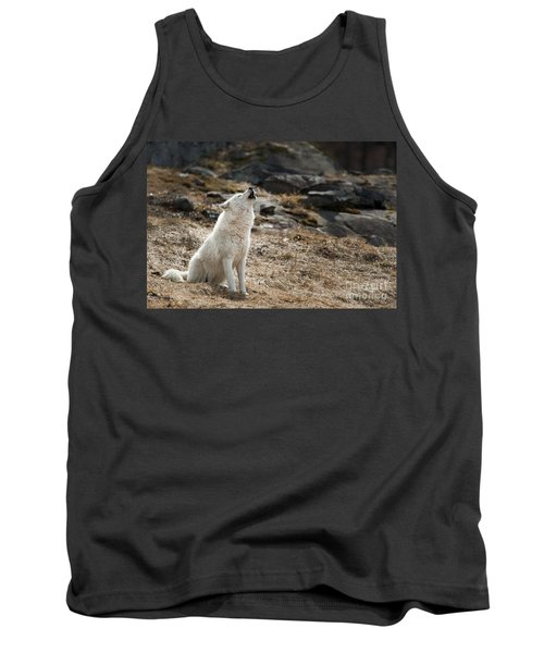Tank Top featuring the photograph Arctic Wolf Howling by Wolves Only