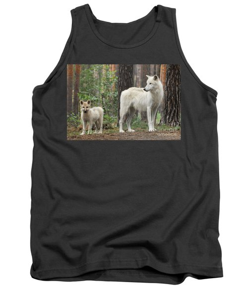 Arctic Wolf With Pup, Canis Lupus Albus Tank Top