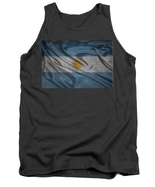 Argentinian Flag Waving On Canvas Tank Top
