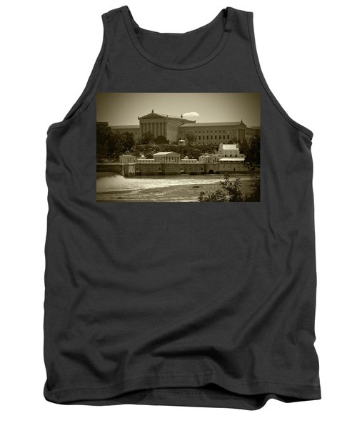 Art Museum And Fairmount Waterworks - Bw Tank Top by Lou Ford