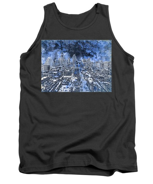 Austin Texas Abstract Panorama 5 Tank Top by Bekim Art