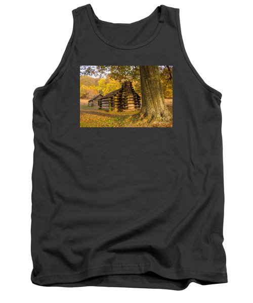 Tank Top featuring the photograph Autumn And The Huts At Valley Forge by Rima Biswas
