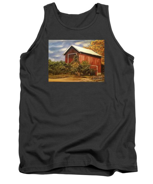 Tank Top featuring the painting Autumn - Barn - Ohio by Jan Dappen