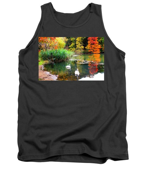 Autumn By The Swan Lake Tank Top by Dora Sofia Caputo Photographic Art and Design