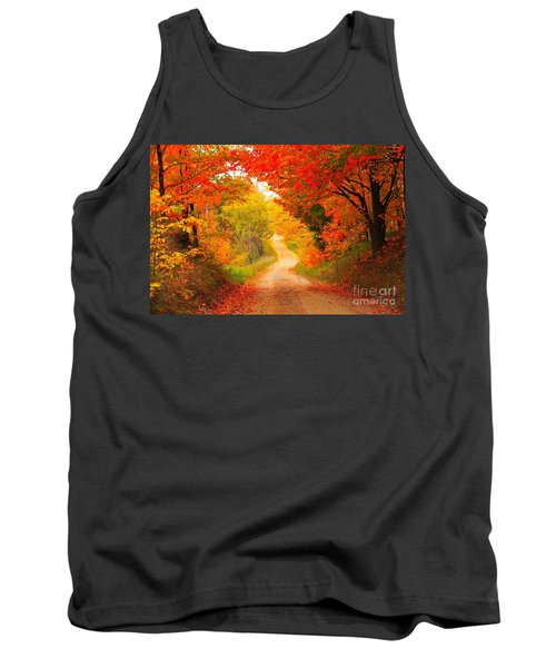Tank Top featuring the photograph Autumn Cameo Road by Terri Gostola