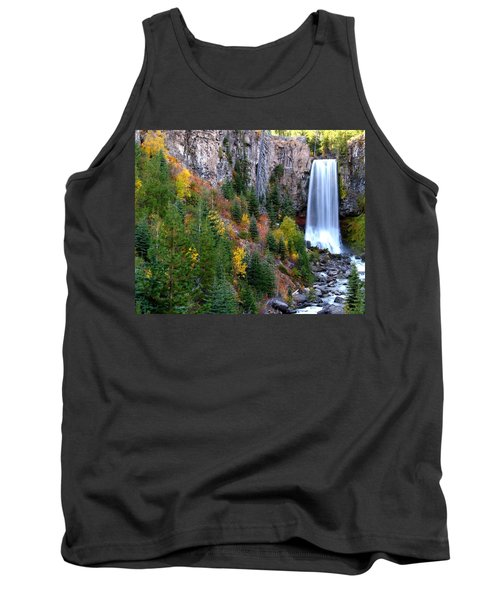 Tank Top featuring the photograph Autumn Colors Surround Tumalo Falls by Kevin Desrosiers