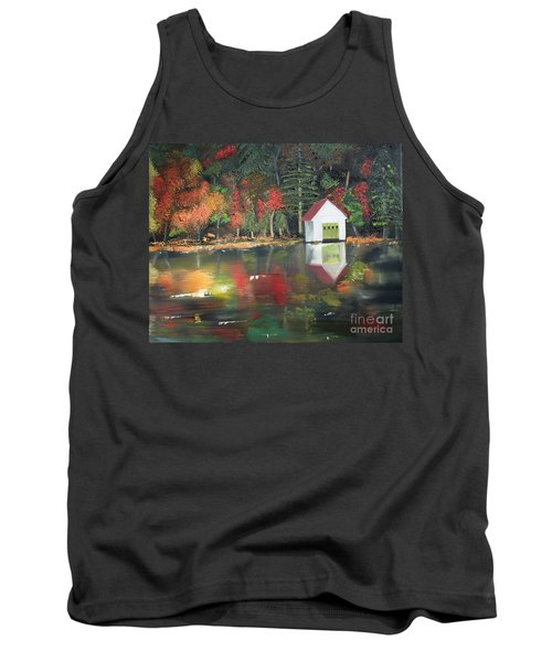 Tank Top featuring the painting Autumn - Lake - Reflecton by Jan Dappen