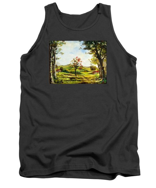 Tank Top featuring the painting Autumn Road by Lee Piper