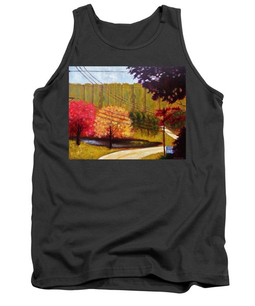 Tank Top featuring the painting Autumn Slopes by Jason Williamson