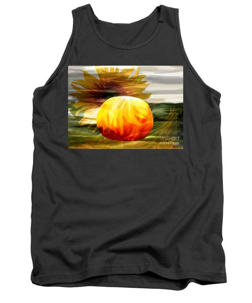 Tank Top featuring the photograph Autumn Sunflower And Pumpkin by Annie Zeno