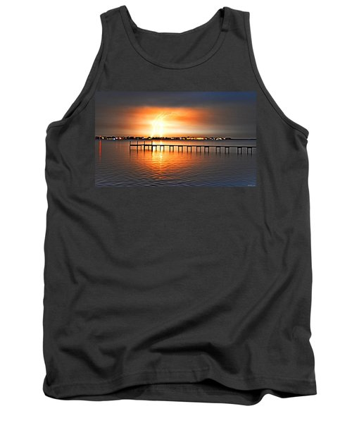Tank Top featuring the photograph Awesome Lightning Electrical Storm On Sound by Jeff at JSJ Photography