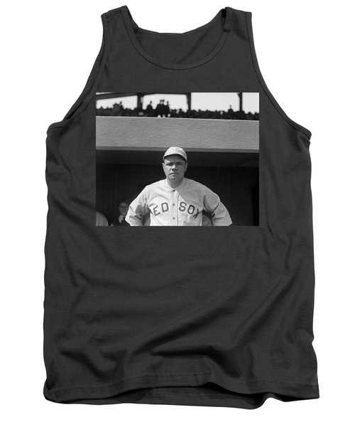 Babe Ruth In Red Sox Uniform Tank Top by Underwood Archives